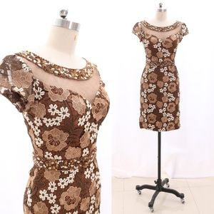 Cap Sleeves Lace Brown Midi Cocktail Party Dress